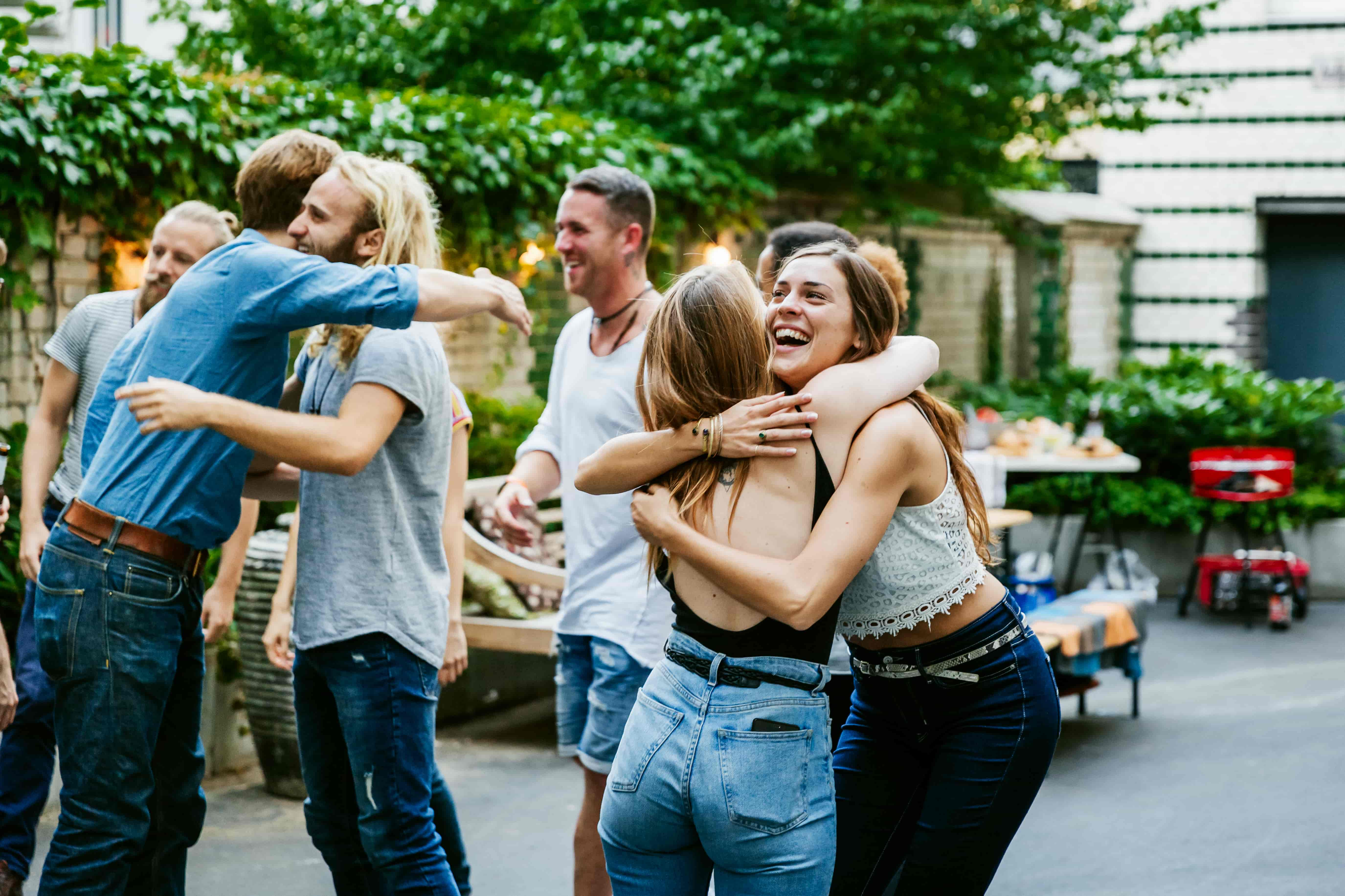 group of people with bad credit hugging