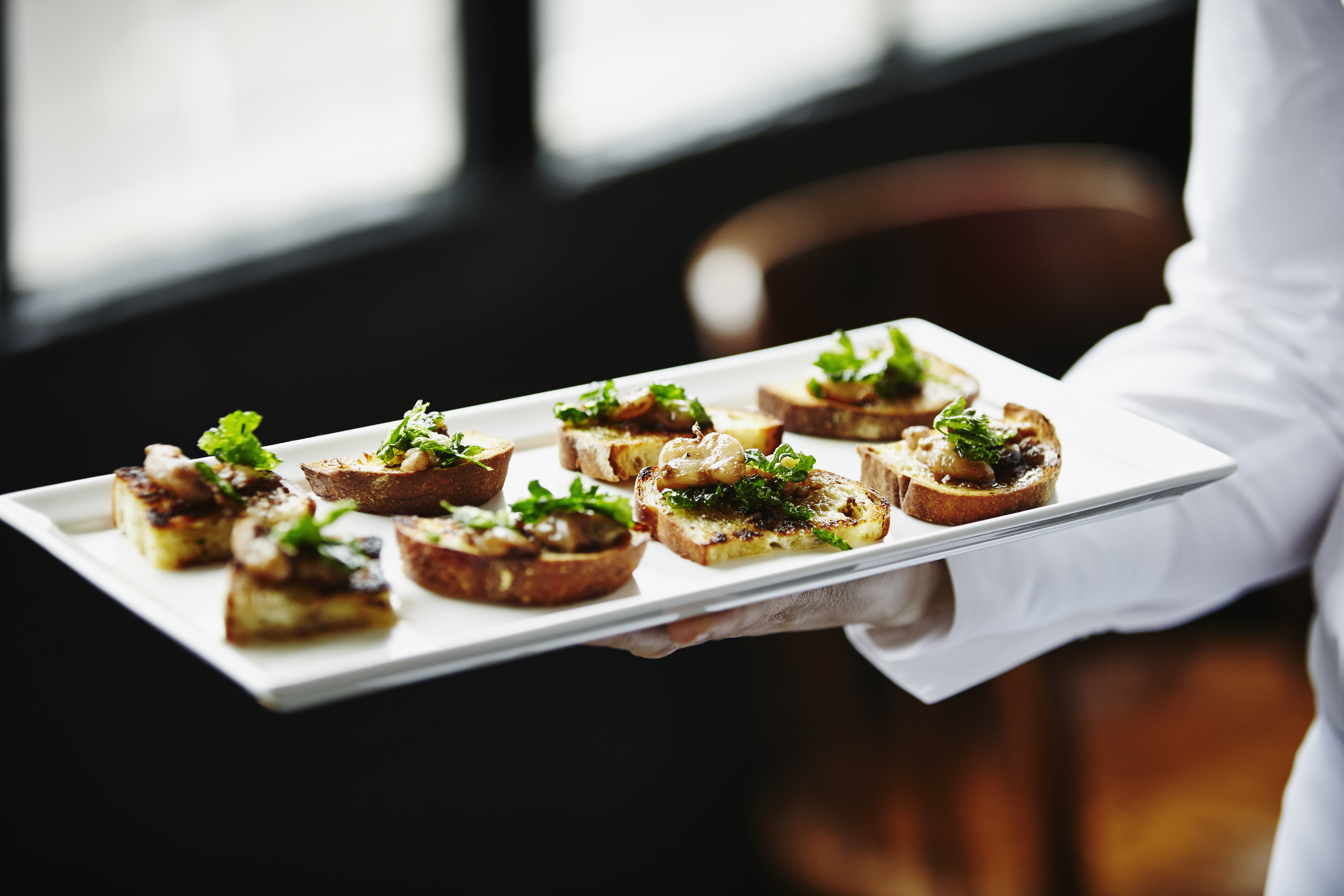 A great way to save on wedding food is to go with light appetizers.